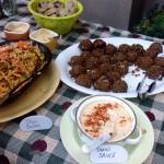Falafel, Tahini Sauce and Thai Salad