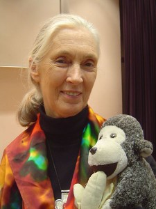 Jane Goodall with Mr. H