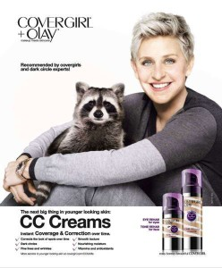 Ellen, a racoon and Cover Girl
